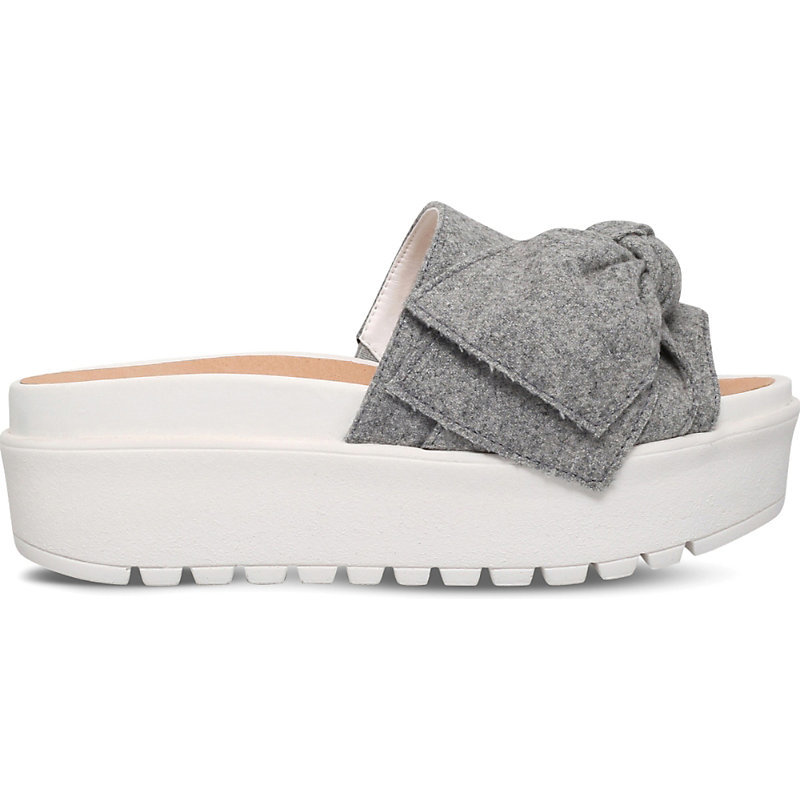 Noddy Bow Detail Fabric Sandals, Women's, Eur 36 / 3 Uk Women, Grey - secondary colour: white; predominant colour: light grey; occasions: casual, holiday; material: fabric; heel height: flat; heel: wedge; toe: open toe/peeptoe; style: slides; finish: plain; pattern: plain; embellishment: bow; shoe detail: platform; season: s/s 2016; wardrobe: highlight