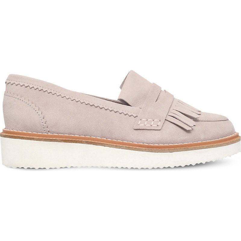 Kooper Suede Loafers, Women's, Eur 37 / 4 Uk Women, Grey - predominant colour: light grey; occasions: casual, creative work; material: suede; heel height: flat; embellishment: tassels; toe: round toe; style: loafers; finish: plain; pattern: plain; shoe detail: platform; season: s/s 2016; wardrobe: highlight