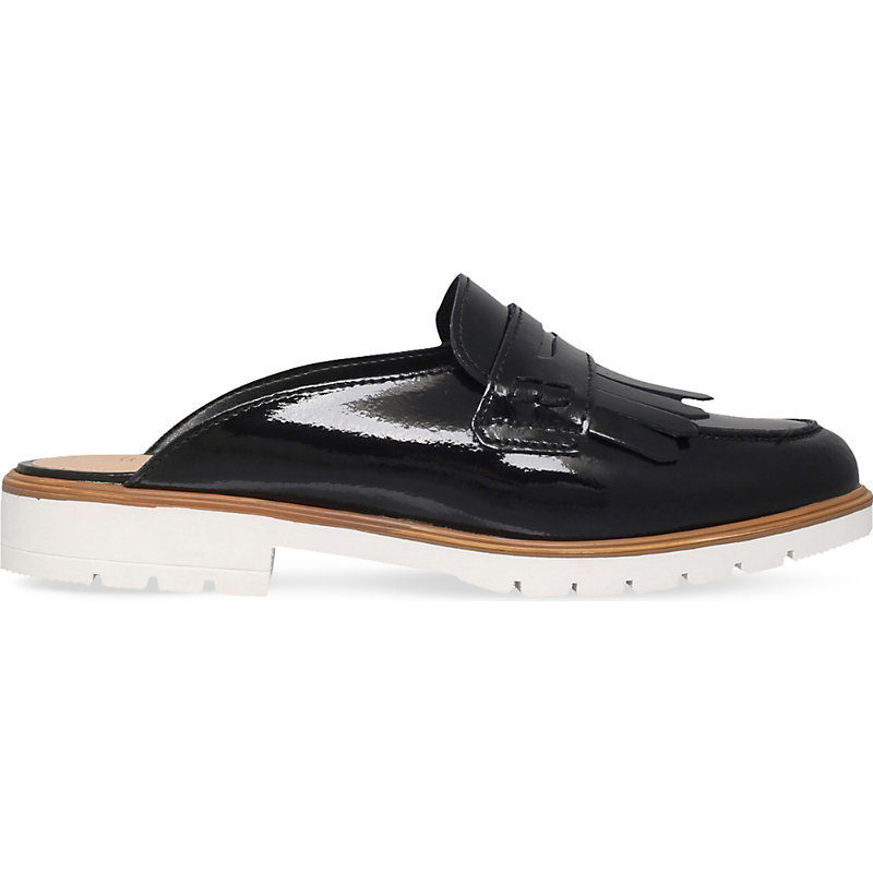 Komit Backless Patent Leather Loafers, Women's, Eur 37 / 4 Uk Women, Black - predominant colour: black; occasions: casual, creative work; material: velvet; heel height: flat; toe: round toe; style: loafers; finish: patent; pattern: plain; season: s/s 2016; wardrobe: basic