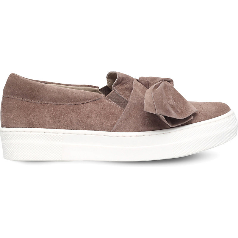 Little Suede Bow Skate Shoes, Women's, Size: Eur 35 / 2 Uk Women, Taupe - predominant colour: stone; occasions: casual; material: suede; heel height: flat; toe: round toe; finish: plain; pattern: plain; embellishment: bow; shoe detail: moulded soul; style: skate shoes; season: s/s 2016; wardrobe: highlight