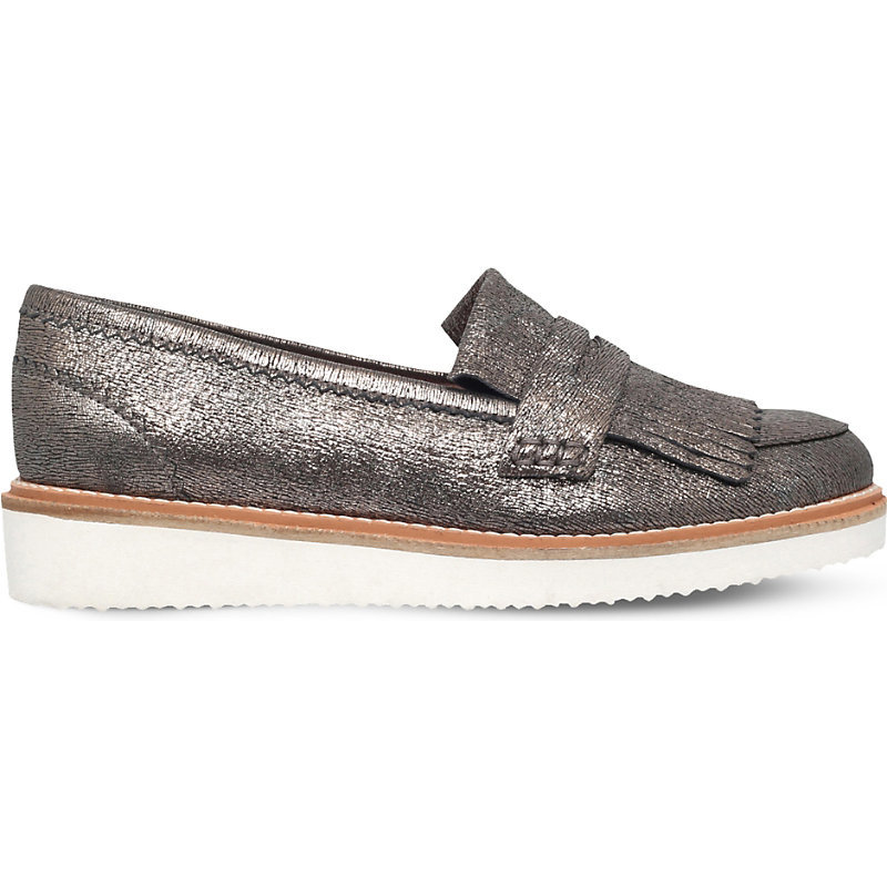 Kooper Metallic Leather Loafers, Women's, Eur 38 / 5 Uk Women, Dark Gray - predominant colour: charcoal; occasions: casual, creative work; material: leather; heel height: flat; toe: round toe; style: loafers; finish: metallic; pattern: plain; embellishment: fringing; shoe detail: moulded soul; season: s/s 2016; wardrobe: highlight