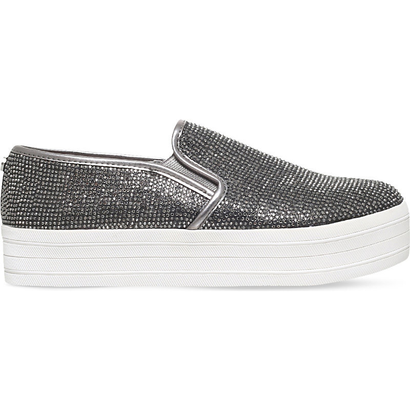Lush Diamante Flatforms, Women's, Eur 38 / 5 Uk Women, Grey - occasions: casual, creative work; material: fabric; heel height: flat; toe: round toe; finish: metallic; pattern: plain; predominant colour: pewter; shoe detail: moulded soul; style: skate shoes; season: s/s 2016; wardrobe: highlight