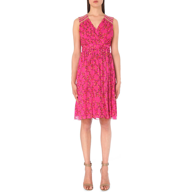 Bali Silk Chiffon Dress, Women's, Shalamar Trellis Pink - style: faux wrap/wrap; neckline: v-neck; sleeve style: sleeveless; predominant colour: hot pink; occasions: evening; length: on the knee; fit: body skimming; fibres: silk - 100%; sleeve length: sleeveless; texture group: sheer fabrics/chiffon/organza etc.; pattern type: fabric; pattern: patterned/print; season: s/s 2016; wardrobe: event