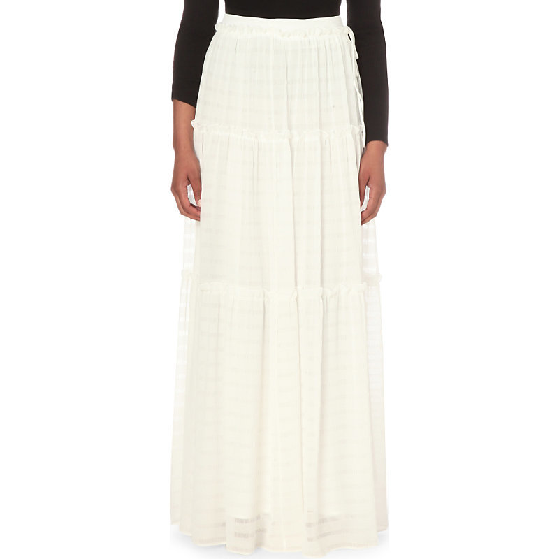 Sofia Chiffon Maxi Skirt, Women's, White - length: ankle length; fit: loose/voluminous; waist: high rise; predominant colour: white; style: maxi skirt; fibres: polyester/polyamide - 100%; occasions: occasion; hip detail: subtle/flattering hip detail; texture group: sheer fabrics/chiffon/organza etc.; pattern type: fabric; pattern size: standard (bottom); pattern: horizontal stripes (bottom); season: s/s 2016; wardrobe: event