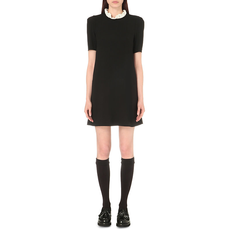 Reglisse Crepe Dress, Women's, Noir - style: shift; length: mini; neckline: high neck; secondary colour: white; predominant colour: black; occasions: evening, creative work; fit: body skimming; sleeve length: short sleeve; sleeve style: standard; pattern type: fabric; pattern size: light/subtle; pattern: colourblock; texture group: woven light midweight; fibres: viscose/rayon - mix; season: s/s 2016; wardrobe: highlight