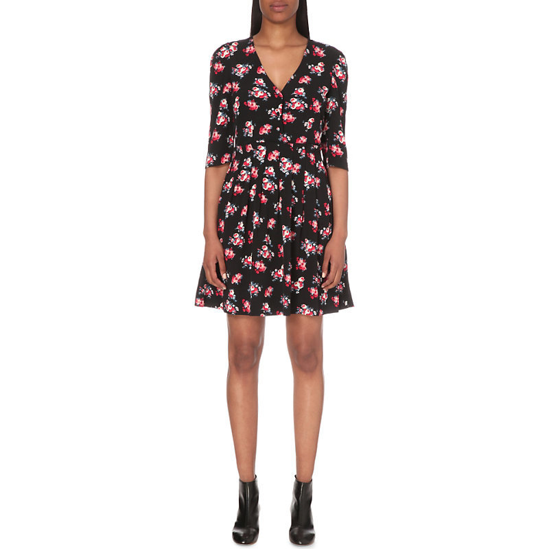Reine Crepe Dress, Women's, Noir - neckline: v-neck; secondary colour: pink; predominant colour: black; occasions: casual; length: just above the knee; fit: fitted at waist & bust; style: fit & flare; fibres: viscose/rayon - 100%; sleeve length: 3/4 length; sleeve style: standard; texture group: crepes; pattern type: fabric; pattern size: big & busy; pattern: florals; multicoloured: multicoloured; season: s/s 2016; wardrobe: highlight