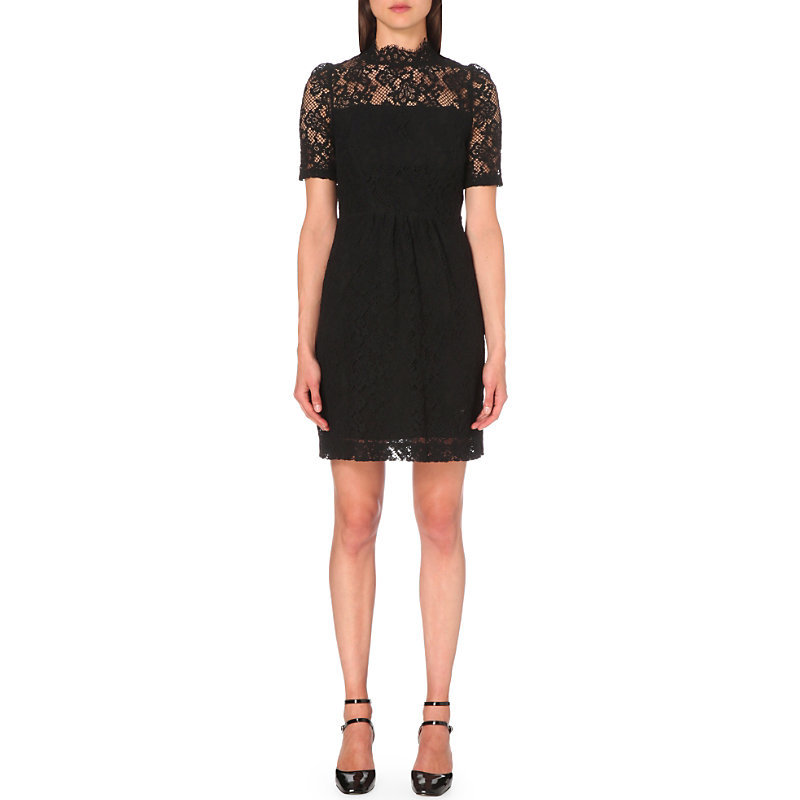 Rox Lace Dress, Women's, Noir - style: shift; fit: tailored/fitted; neckline: high neck; bust detail: sheer at bust; predominant colour: black; occasions: evening; length: just above the knee; fibres: cotton - mix; sleeve length: short sleeve; sleeve style: standard; texture group: lace; pattern type: fabric; pattern size: standard; pattern: patterned/print; season: s/s 2016