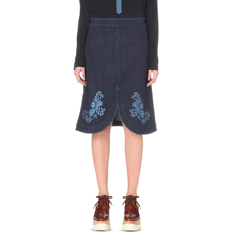 Embroidered Denim Skirt, Women's, Dark Blue - fit: loose/voluminous; waist: high rise; predominant colour: navy; secondary colour: denim; occasions: casual; length: on the knee; style: a-line; fibres: cotton - stretch; texture group: denim; pattern type: fabric; pattern: florals; embellishment: embroidered; pattern size: standard (bottom); season: s/s 2016; wardrobe: highlight; embellishment location: hem