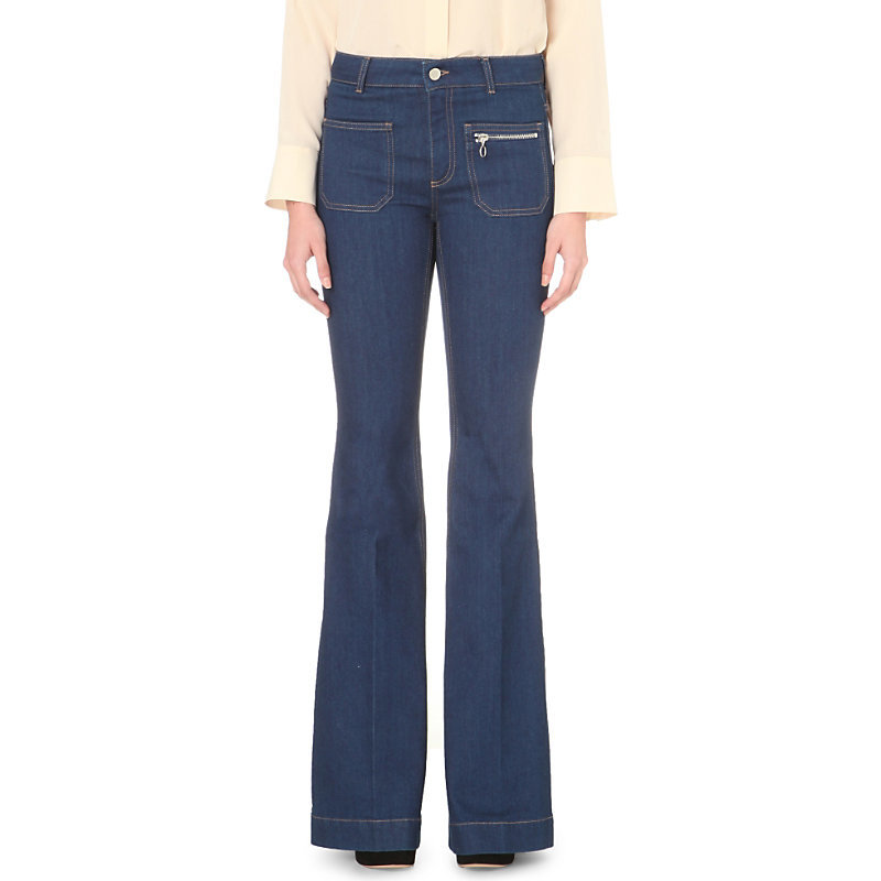 70's Flare Flared High Rise Jeans, Women's, True Blue - style: flares; length: standard; pattern: plain; waist: high rise; predominant colour: navy; occasions: casual, creative work; fibres: cotton - stretch; jeans detail: dark wash; texture group: denim; pattern type: fabric; season: s/s 2016; wardrobe: basic