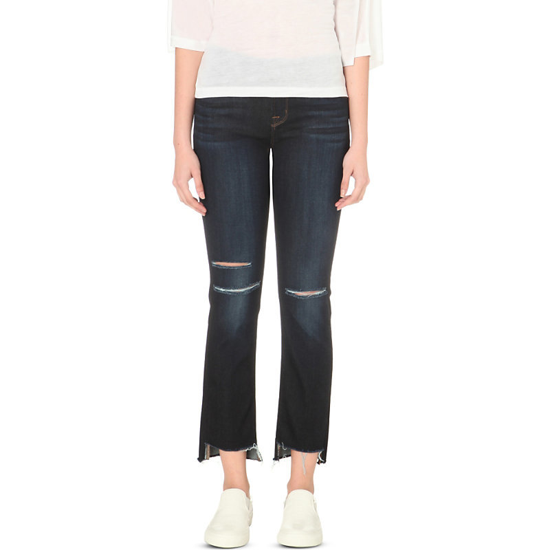 Straight Stepped Hem Mid Rise Jeans, Women's, Merciless - style: straight leg; pattern: plain; pocket detail: traditional 5 pocket; waist: mid/regular rise; predominant colour: navy; occasions: casual; length: calf length; fibres: cotton - stretch; pattern type: fabric; texture group: other - clingy; jeans detail: rips; season: s/s 2016; wardrobe: highlight