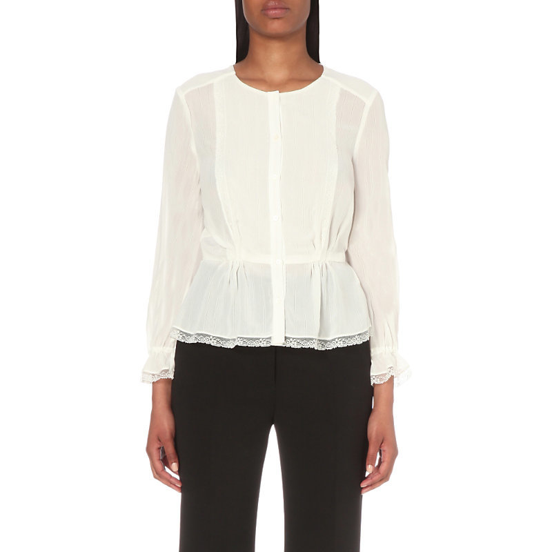Cherry Crepe Shirt, Women's, White - pattern: plain; waist detail: peplum waist detail; predominant colour: white; occasions: casual, creative work; length: standard; style: top; fibres: polyester/polyamide - 100%; fit: body skimming; neckline: crew; sleeve length: long sleeve; sleeve style: standard; texture group: crepes; pattern type: fabric; season: s/s 2016
