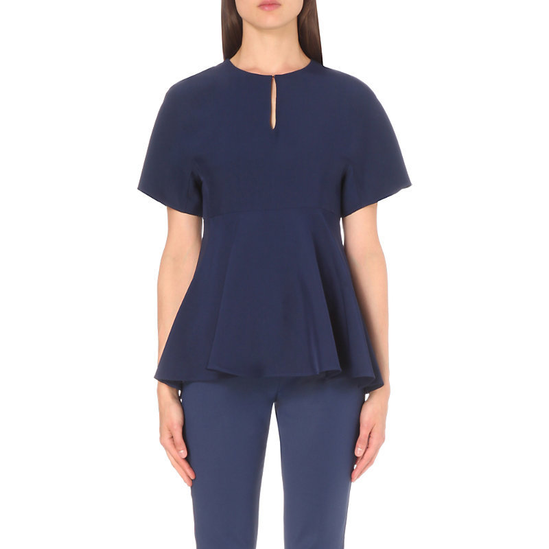 Peplum Waist Woven Top, Women's, Light Sky Blue/White - pattern: plain; length: below the bottom; predominant colour: navy; style: top; neckline: peep hole neckline; fibres: silk - 100%; fit: loose; sleeve length: short sleeve; sleeve style: standard; pattern type: fabric; texture group: other - light to midweight; occasions: creative work; season: s/s 2016; wardrobe: basic