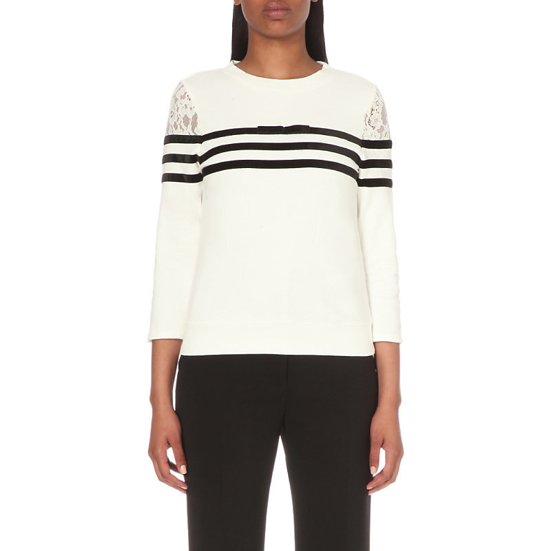 Torres Cotton Jersey Sweatshirt, Women's, Size: Medium, White - pattern: horizontal stripes; style: sweat top; predominant colour: white; secondary colour: black; occasions: casual; length: standard; fibres: cotton - 100%; fit: body skimming; neckline: crew; sleeve length: 3/4 length; sleeve style: standard; pattern type: fabric; texture group: jersey - stretchy/drapey; embellishment: lace; multicoloured: multicoloured; season: s/s 2016; wardrobe: highlight