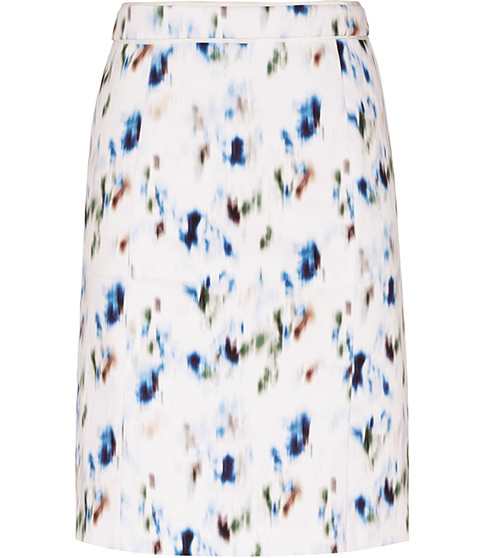 Nelly Printed Skirt - style: straight; fit: tailored/fitted; waist: mid/regular rise; predominant colour: white; secondary colour: royal blue; occasions: casual; length: just above the knee; fibres: cotton - stretch; pattern type: fabric; pattern: patterned/print; texture group: woven light midweight; multicoloured: multicoloured; season: s/s 2016; wardrobe: highlight