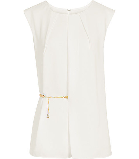 Jenna Belted Wrap Front Top - neckline: round neck; sleeve style: capped; pattern: plain; length: below the bottom; style: blouse; waist detail: belted waist/tie at waist/drawstring; predominant colour: white; fibres: polyester/polyamide - 100%; occasions: occasion; fit: tailored/fitted; sleeve length: short sleeve; pattern type: fabric; texture group: other - light to midweight; embellishment: chain/metal; season: s/s 2016; wardrobe: event; embellishment location: waist