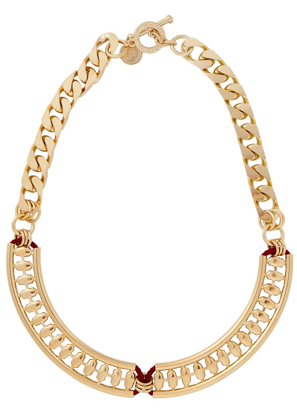 Kori Swarovski Gold Plated Necklace - predominant colour: gold; occasions: casual, evening; length: mid; size: large/oversized; material: chain/metal; finish: plain; embellishment: crystals/glass; style: bib/statement; season: s/s 2016; wardrobe: highlight