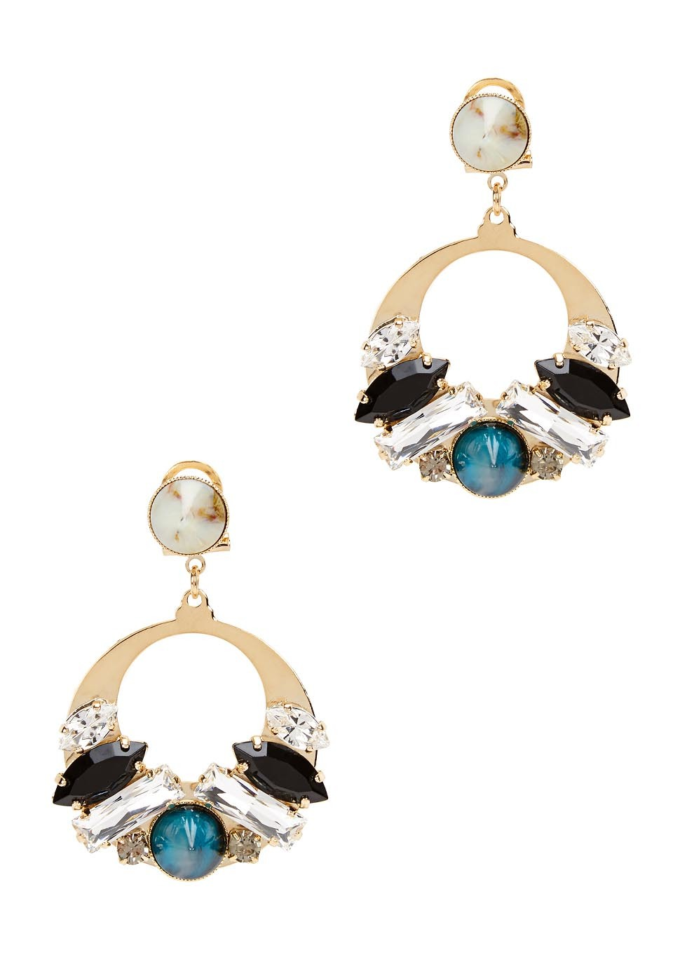 Calandra Swarovski Gold Plated Earring - secondary colour: royal blue; predominant colour: gold; occasions: evening, holiday; style: drop; length: mid; size: standard; material: chain/metal; fastening: pierced; finish: plain; embellishment: crystals/glass; multicoloured: multicoloured; season: s/s 2016