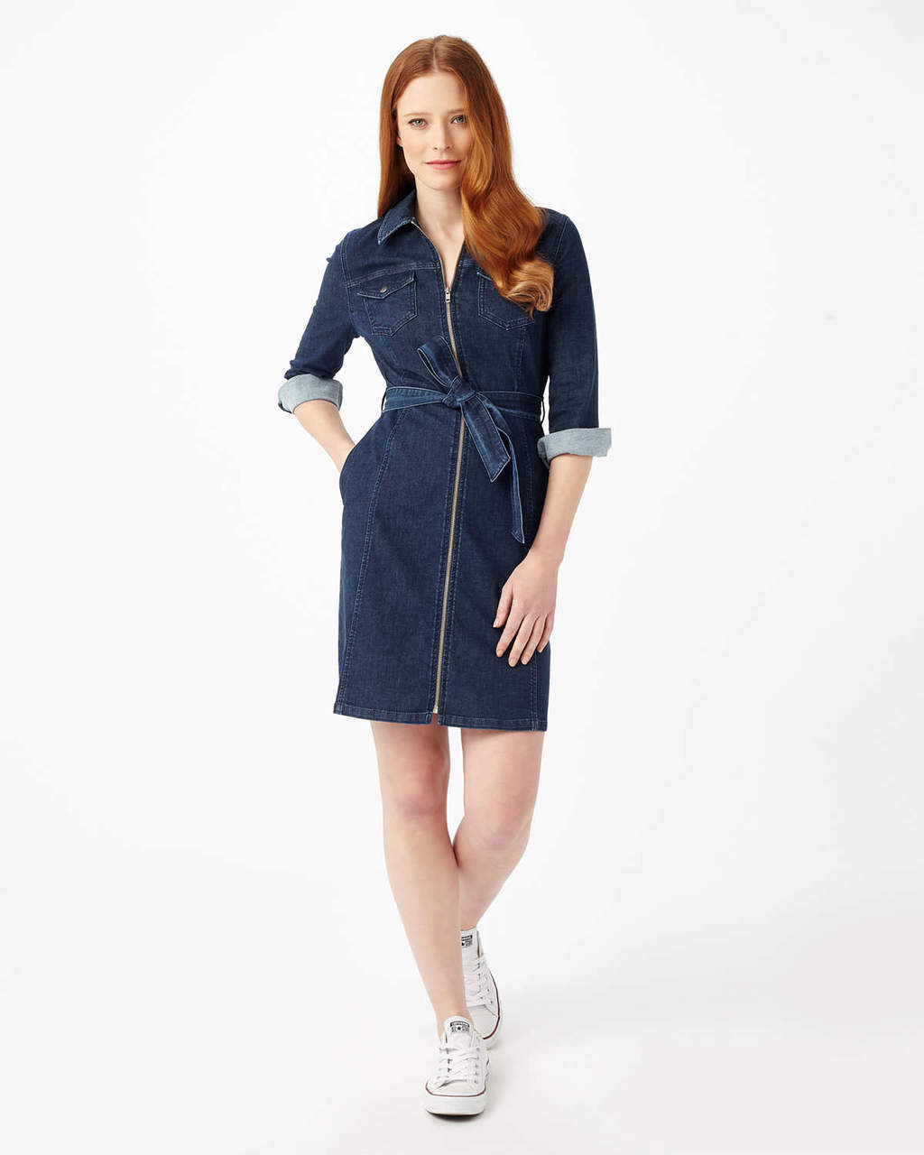 Annabelle Zip Denim Dress - style: shirt; length: mid thigh; neckline: shirt collar/peter pan/zip with opening; fit: tailored/fitted; pattern: plain; waist detail: belted waist/tie at waist/drawstring; predominant colour: denim; occasions: casual; fibres: cotton - stretch; sleeve length: 3/4 length; sleeve style: standard; texture group: denim; pattern type: fabric; season: s/s 2016; wardrobe: basic