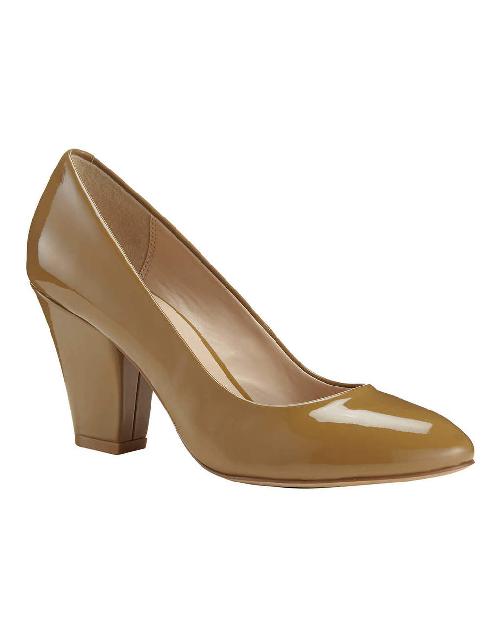 Amari Patent Leather Court - predominant colour: khaki; occasions: work, creative work; material: leather; heel height: high; heel: block; toe: round toe; style: courts; finish: patent; pattern: plain; season: s/s 2016; wardrobe: investment