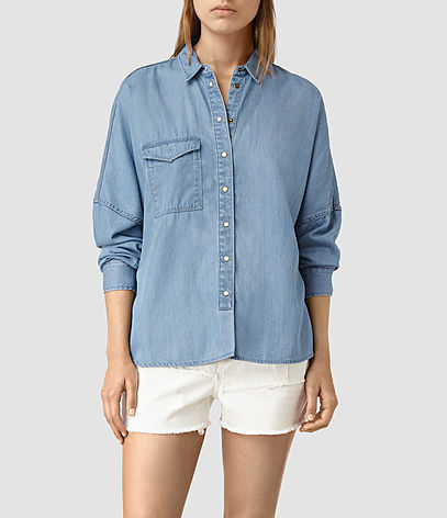 Bella Oversize Shirt - neckline: shirt collar/peter pan/zip with opening; pattern: plain; style: shirt; predominant colour: denim; occasions: casual; length: standard; fibres: cotton - mix; fit: body skimming; sleeve length: long sleeve; sleeve style: standard; texture group: denim; pattern type: fabric; season: s/s 2016; wardrobe: basic