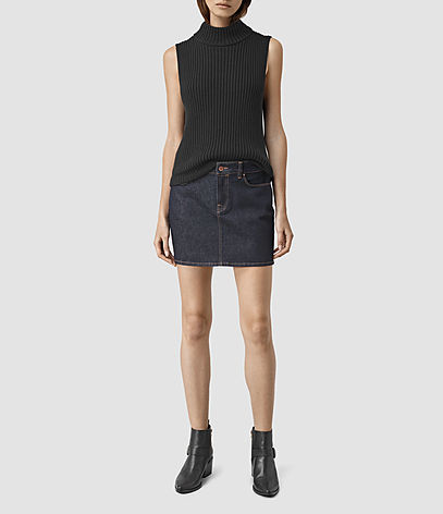 Ace Mini Denim Skirt - length: mini; pattern: plain; fit: body skimming; waist: mid/regular rise; predominant colour: navy; occasions: casual; style: mini skirt; fibres: cotton - stretch; texture group: denim; pattern type: fabric; season: s/s 2016; wardrobe: basic