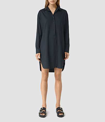 Marlon Shirt Dress - style: shirt; neckline: shirt collar/peter pan/zip with opening; fit: loose; pattern: plain; predominant colour: navy; occasions: casual, creative work; length: just above the knee; fibres: viscose/rayon - 100%; sleeve length: long sleeve; sleeve style: standard; pattern type: fabric; pattern size: standard; texture group: woven light midweight; season: s/s 2016; wardrobe: basic