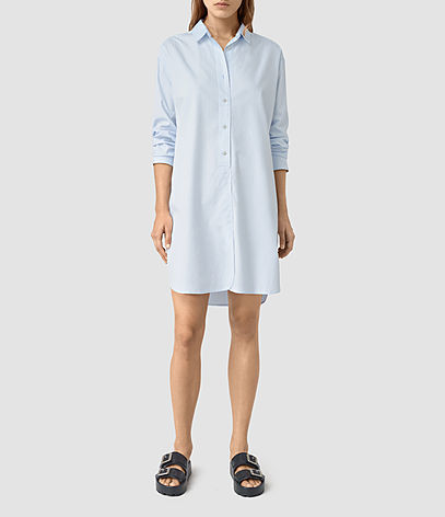 Marlon Shirt Dress - style: shirt; neckline: shirt collar/peter pan/zip with opening; pattern: plain; predominant colour: pale blue; occasions: casual; length: just above the knee; fit: body skimming; fibres: viscose/rayon - 100%; sleeve length: long sleeve; sleeve style: standard; texture group: cotton feel fabrics; pattern type: fabric; season: s/s 2016; wardrobe: highlight
