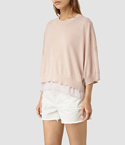 Relm Knit Top - pattern: plain; predominant colour: blush; occasions: casual; length: standard; style: top; fibres: linen - mix; fit: loose; neckline: crew; sleeve length: 3/4 length; sleeve style: standard; texture group: linen; pattern type: fabric; season: s/s 2016; wardrobe: basic