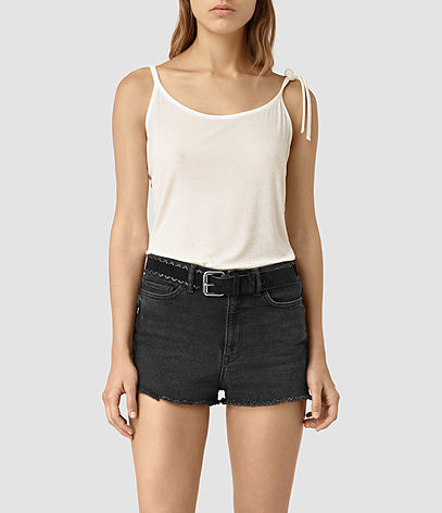 Tied Top - sleeve style: spaghetti straps; pattern: plain; style: camisole; predominant colour: white; occasions: casual; length: standard; neckline: scoop; fibres: viscose/rayon - stretch; fit: body skimming; sleeve length: sleeveless; pattern type: fabric; texture group: jersey - stretchy/drapey; season: s/s 2016; wardrobe: basic