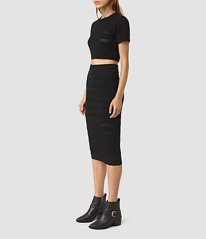 Casto Skirt - length: below the knee; pattern: plain; style: pencil; fit: tight; waist: mid/regular rise; predominant colour: black; occasions: evening; fibres: cotton - 100%; texture group: jersey - clingy; pattern type: fabric; season: s/s 2016; wardrobe: event