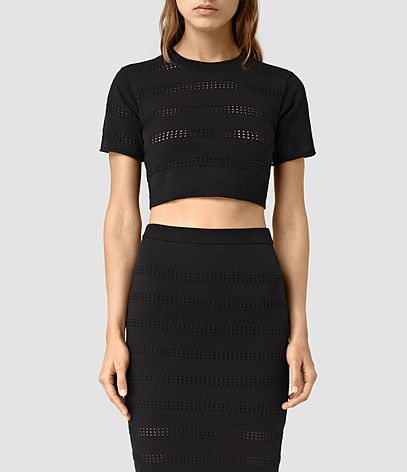 Casto Cropped Top - pattern: plain; length: cropped; predominant colour: black; occasions: evening; style: top; fibres: cotton - mix; fit: tight; neckline: crew; sleeve length: short sleeve; sleeve style: standard; pattern type: fabric; texture group: jersey - stretchy/drapey; season: s/s 2016; wardrobe: event
