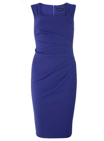 "Womens **Scarlett B Colbalt ""Lydia"" Bodycon Dress Blue - style: shift; fit: tailored/fitted; pattern: plain; sleeve style: sleeveless; waist detail: flattering waist detail; hip detail: draws attention to hips; predominant colour: royal blue; occasions: evening, occasion; length: on the knee; fibres: polyester/polyamide - stretch; sleeve length: sleeveless; texture group: jersey - clingy; neckline: low square neck; pattern type: fabric; season: s/s 2016; wardrobe: event"