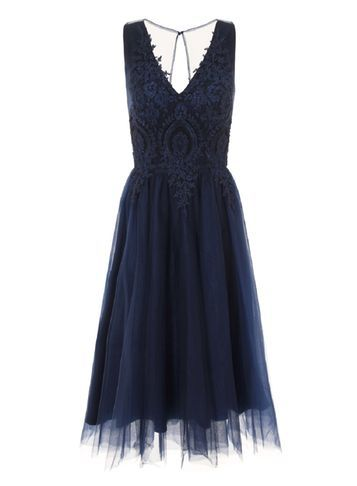 Womens **Chi Chi London Sleeveless Embroidered Midi Blue - neckline: low v-neck; sleeve style: sleeveless; style: prom dress; waist detail: fitted waist; predominant colour: navy; occasions: evening, occasion; length: on the knee; fit: fitted at waist & bust; fibres: polyester/polyamide - 100%; hip detail: structured pleats at hip; back detail: keyhole/peephole detail at back; sleeve length: sleeveless; texture group: sheer fabrics/chiffon/organza etc.; pattern type: fabric; pattern size: light/subtle; pattern: patterned/print; embellishment: lace; season: s/s 2016