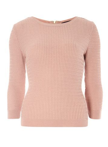 Womens Nude Mini Cable Zip Back Nude - pattern: plain; style: standard; predominant colour: blush; occasions: casual; length: standard; fit: slim fit; neckline: crew; sleeve length: 3/4 length; sleeve style: standard; texture group: knits/crochet; pattern type: fabric; fibres: viscose/rayon - mix; season: s/s 2016