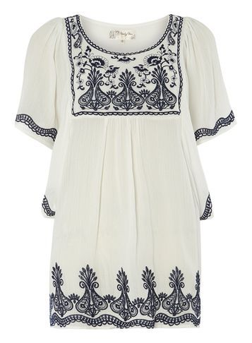 Womens **Voulez Vous White Embroidery Batwing Top White - neckline: round neck; length: below the bottom; style: smock; predominant colour: ivory/cream; secondary colour: black; occasions: casual; fit: loose; sleeve length: short sleeve; sleeve style: standard; texture group: cotton feel fabrics; pattern type: fabric; pattern: patterned/print; embellishment: embroidered; fibres: viscose/rayon - mix; multicoloured: multicoloured; season: s/s 2016
