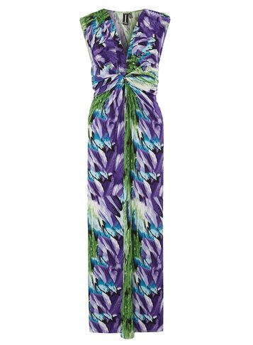 Womens *Izabel London Multi Purple Print Maxi Purple - neckline: v-neck; sleeve style: sleeveless; style: maxi dress; predominant colour: purple; secondary colour: dark green; occasions: evening; length: floor length; fit: body skimming; fibres: polyester/polyamide - stretch; sleeve length: sleeveless; pattern type: fabric; pattern size: big & busy; pattern: patterned/print; texture group: jersey - stretchy/drapey; multicoloured: multicoloured; season: s/s 2016; wardrobe: event