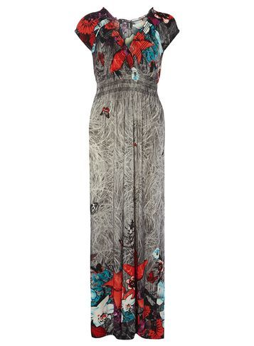 Womens **Izabel London Multi Grey Urban Maxi Dress Grey - neckline: v-neck; sleeve style: capped; style: maxi dress; secondary colour: true red; predominant colour: charcoal; occasions: evening; length: floor length; fit: body skimming; fibres: polyester/polyamide - stretch; sleeve length: short sleeve; pattern type: fabric; pattern size: big & busy; pattern: florals; texture group: jersey - stretchy/drapey; multicoloured: multicoloured; season: s/s 2016