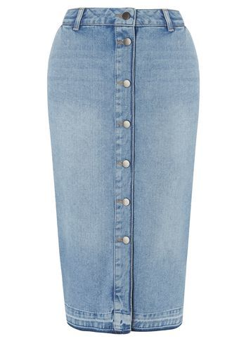 Womens Button Through Denim Skirt Blue - length: below the knee; pattern: plain; style: pencil; fit: tailored/fitted; waist: high rise; predominant colour: denim; occasions: casual, creative work; fibres: cotton - 100%; texture group: denim; pattern type: fabric; season: s/s 2016; wardrobe: basic
