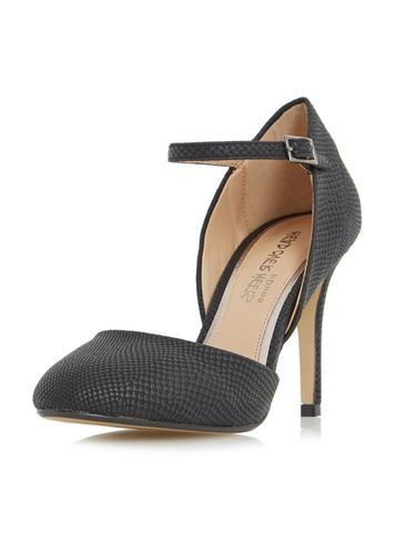 Womens **Head Over Heels 'corrina' Black Court Shoes Black - predominant colour: black; occasions: evening, occasion, creative work; material: faux leather; heel height: high; ankle detail: ankle strap; heel: stiletto; toe: round toe; style: courts; finish: plain; pattern: patterned/print; season: s/s 2016; wardrobe: highlight