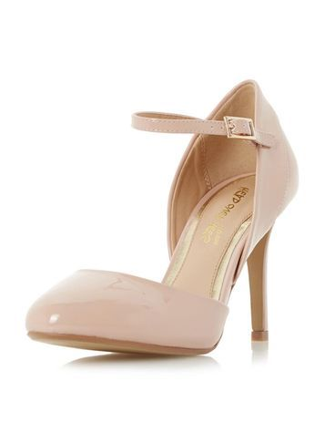 Womens **Head Over Heels 'corrina' Nude Court Shoes Cream - predominant colour: nude; occasions: evening, occasion, creative work; material: faux leather; heel height: high; ankle detail: ankle strap; heel: stiletto; toe: round toe; style: courts; finish: patent; pattern: plain; season: s/s 2016; wardrobe: investment
