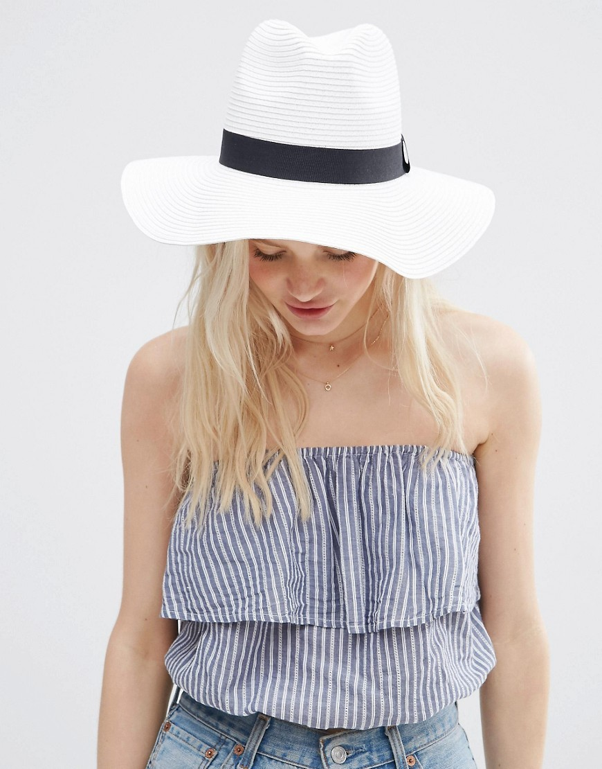 Straw Fedora Hat White - predominant colour: white; secondary colour: black; occasions: casual, holiday; type of pattern: standard; embellishment: ribbon; style: panama; size: standard; material: macrame/raffia/straw; pattern: plain; season: s/s 2016; wardrobe: holiday