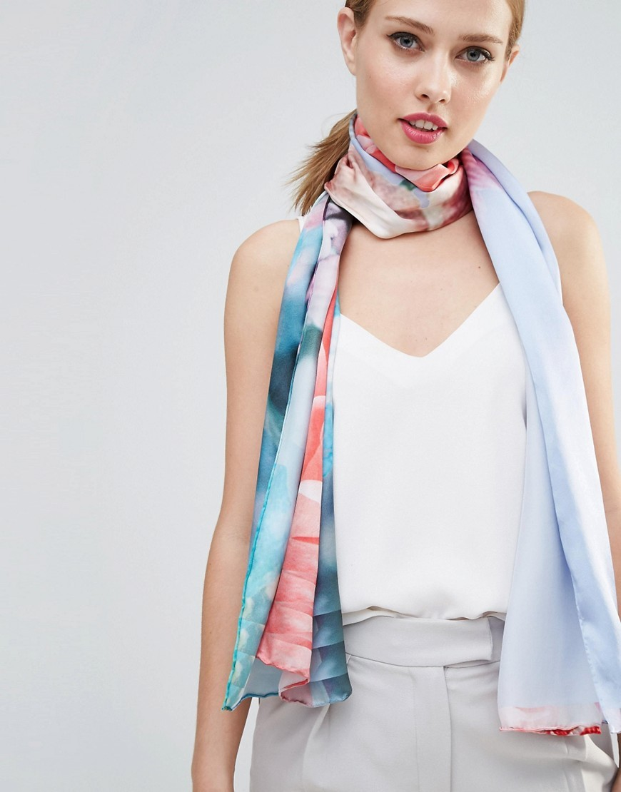 Fraya Floral Long Silk Scarf Pale Blue - predominant colour: pale blue; occasions: casual; type of pattern: heavy; style: regular; size: standard; material: silk; pattern: florals; multicoloured: multicoloured; season: s/s 2016; wardrobe: highlight
