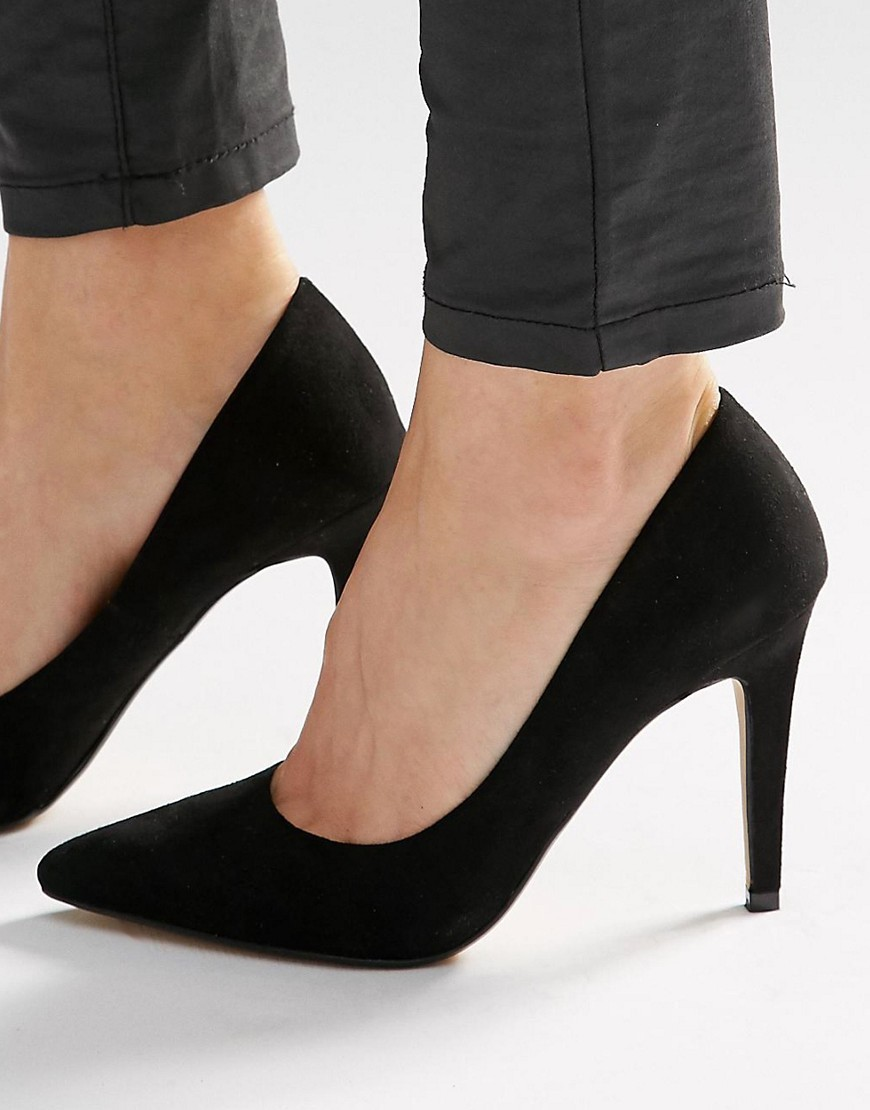 By Dune Addyson Black Heeled Court Shoes Black - predominant colour: black; occasions: evening, occasion, creative work; material: suede; heel height: high; heel: stiletto; toe: pointed toe; style: courts; finish: plain; pattern: plain; season: s/s 2016; wardrobe: investment