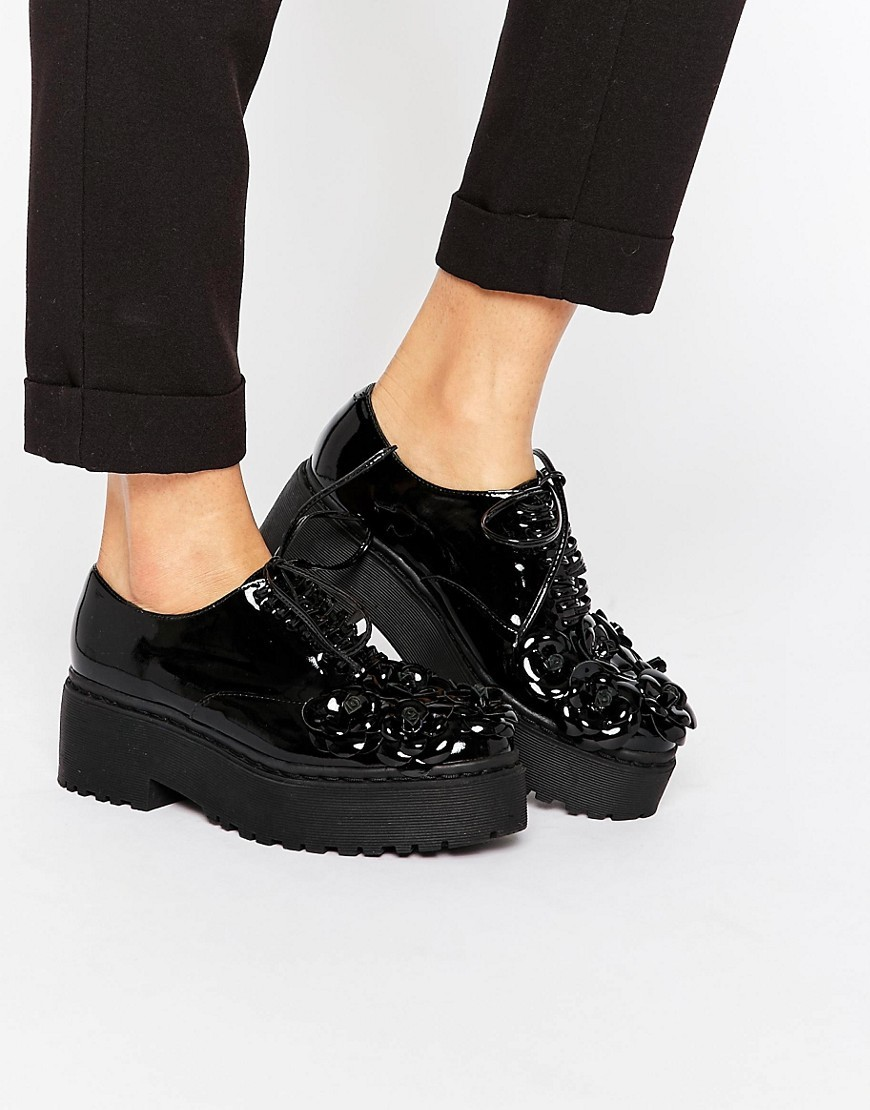 Baird Flower Lace Up Patent Platform Shoes Black Box Calf - predominant colour: black; occasions: casual, creative work; material: leather; heel height: flat; toe: round toe; style: flatforms; finish: patent; pattern: plain; shoe detail: platform; season: s/s 2016