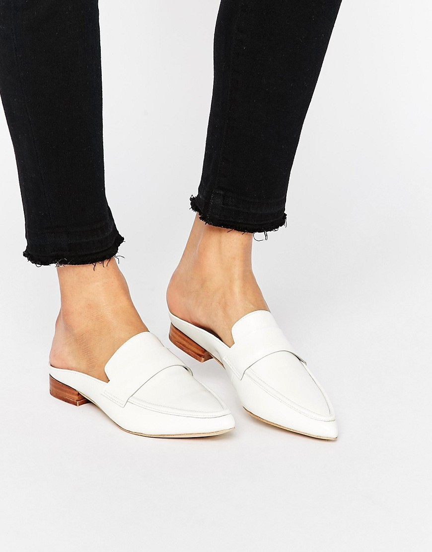 Belan Leather Mules White Box Calf - predominant colour: white; occasions: casual, creative work; material: leather; heel height: flat; toe: pointed toe; style: loafers; finish: plain; pattern: plain; season: s/s 2016; wardrobe: basic