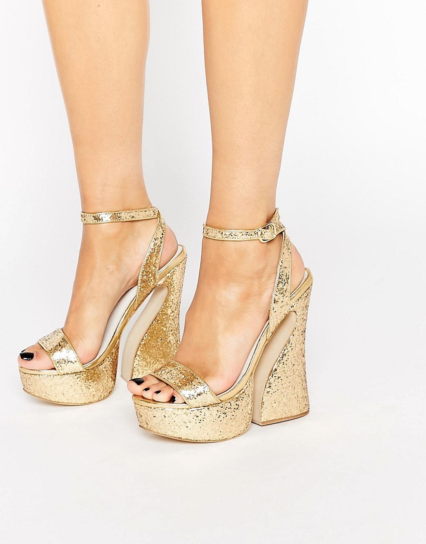 Glitter Platform Sandals Gold Glitter - predominant colour: gold; occasions: evening, occasion; material: faux leather; ankle detail: ankle strap; heel: block; toe: open toe/peeptoe; style: standard; finish: metallic; pattern: plain; heel height: very high; shoe detail: platform; season: s/s 2016; wardrobe: event