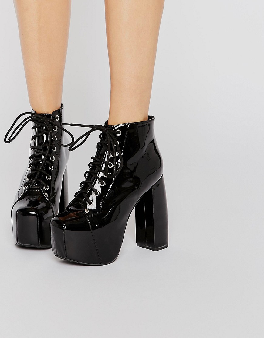 Valita Mega Platform Patent Lace Up Ankle Boots Black Patent Calf - predominant colour: black; material: leather; heel height: high; heel: block; toe: square toe; boot length: shoe boot; style: standard; finish: patent; pattern: plain; occasions: creative work; shoe detail: platform; season: s/s 2016; wardrobe: highlight
