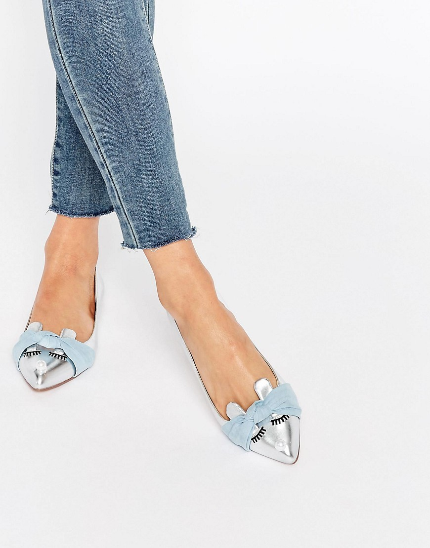 Littleton Pointed Ballet Flats Silver - secondary colour: pale blue; predominant colour: silver; occasions: casual, creative work; material: faux leather; heel height: flat; toe: pointed toe; style: ballerinas / pumps; finish: metallic; pattern: plain; embellishment: bow; season: s/s 2016; wardrobe: basic