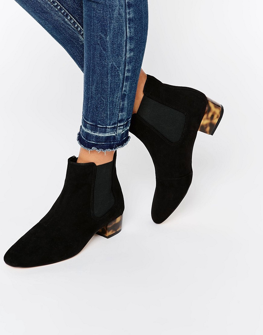Amber Low Block Heel Chelsea Boots Black - predominant colour: black; occasions: casual, creative work; material: faux leather; heel height: mid; heel: block; toe: pointed toe; boot length: ankle boot; finish: plain; pattern: plain; style: chelsea; season: s/s 2016; wardrobe: basic