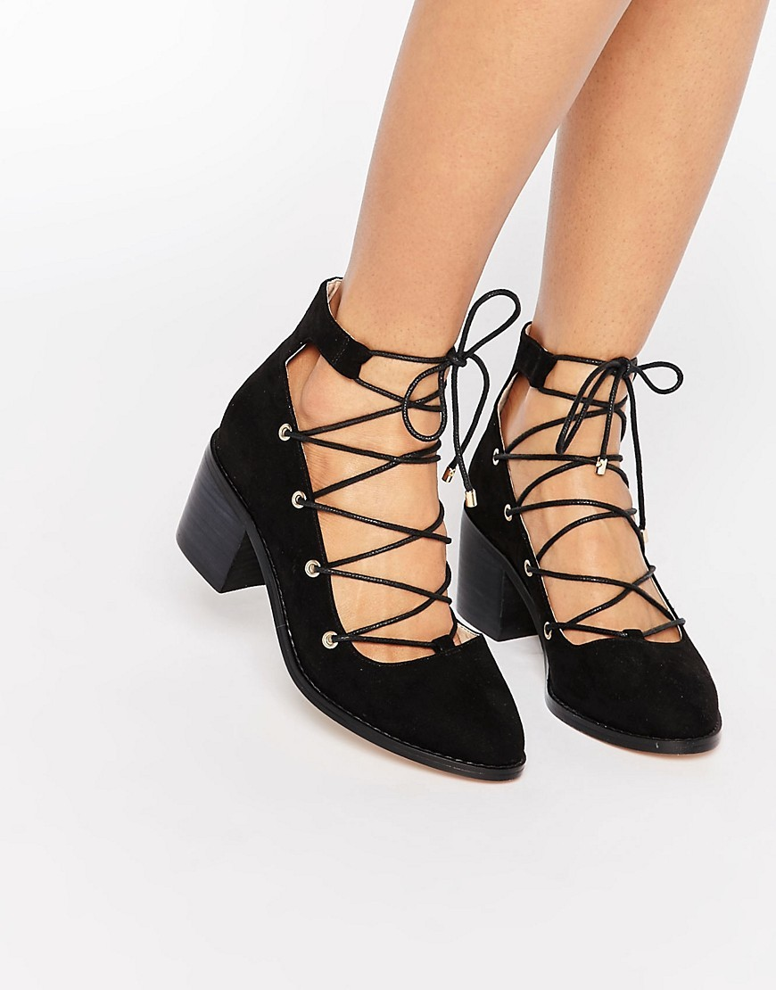 Ooh La La Ghillie Lace Up Shoes Black - predominant colour: black; occasions: evening, occasion; heel height: mid; ankle detail: ankle tie; heel: block; toe: round toe; style: courts; finish: plain; pattern: plain; material: faux suede; season: s/s 2016; wardrobe: event